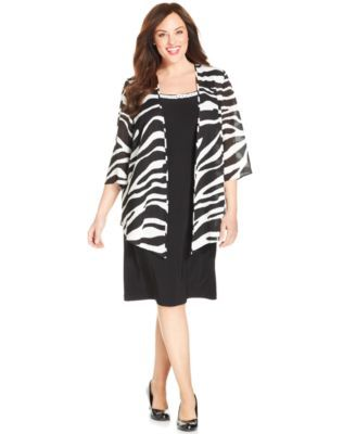 Le Bos Plus Size Dress & Zebra Print Jacket