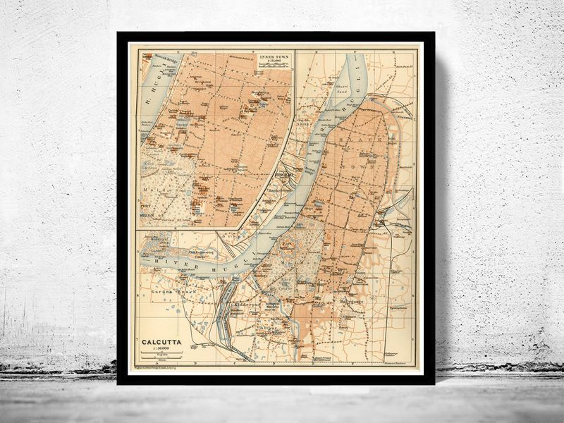 Old Map of Calcutta Kolkata India 1914 Antique Vintage