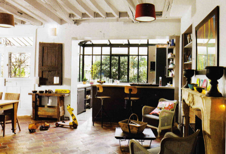 Tomettes Poutre Et Veranda Ferronnerie Noire Decoration Cuisine Cuisines Deco Deco Maison