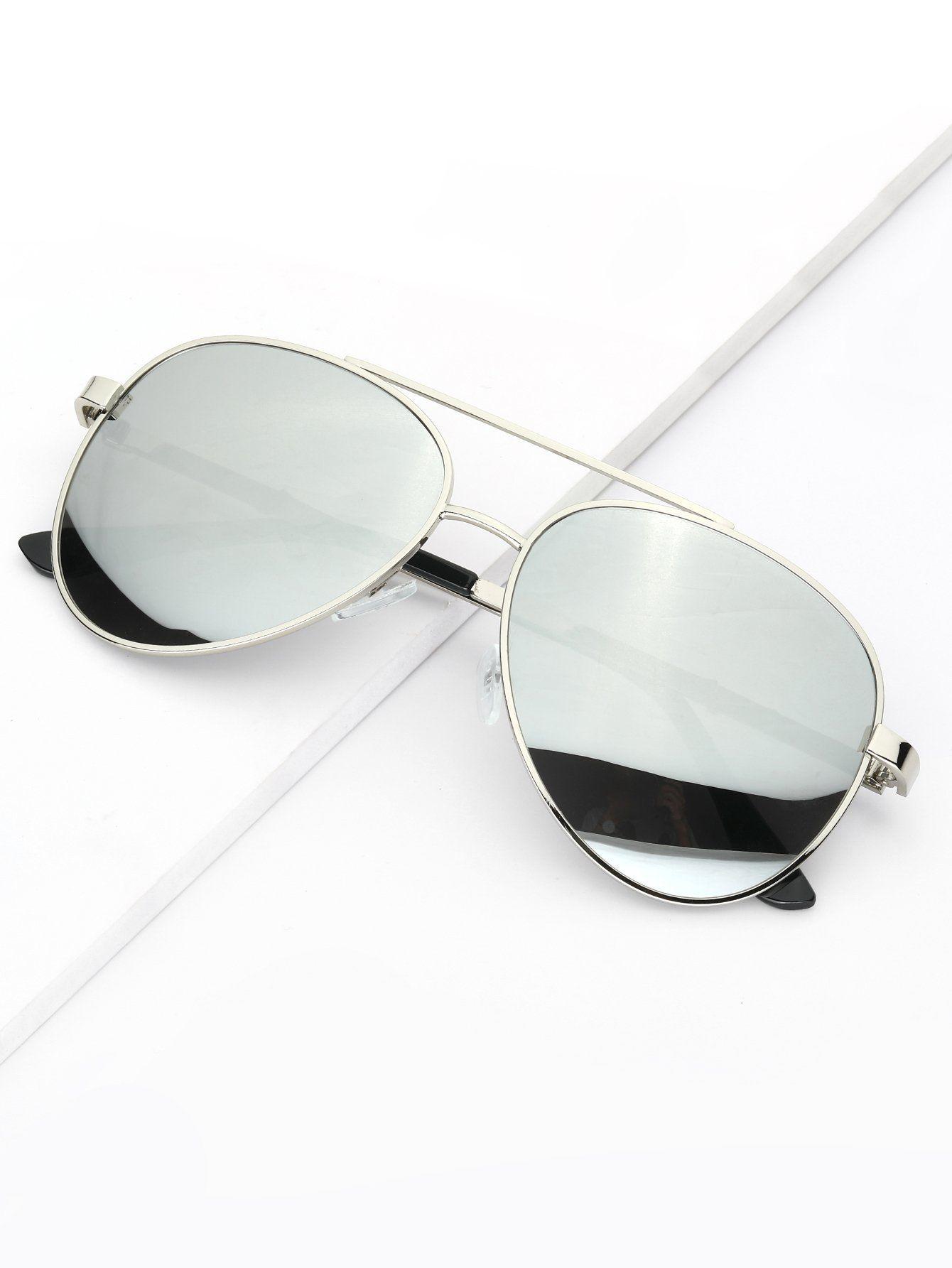 01cbdd627a Men's Silver Metal Frame & Silver Mirror Lens Aviator Sunglasses FREE SHIP