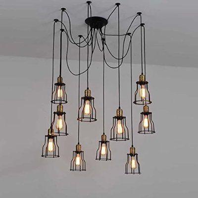 Style industriel salon salle à manger bar lustre de fer 10 lumières