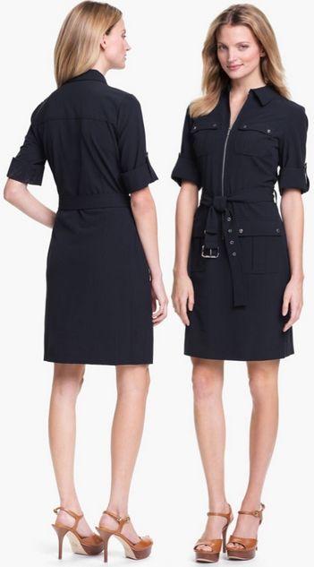 cca2e54eaa2 michael michael kors roll sleeve belted shirt dress | Dress | Zip ...