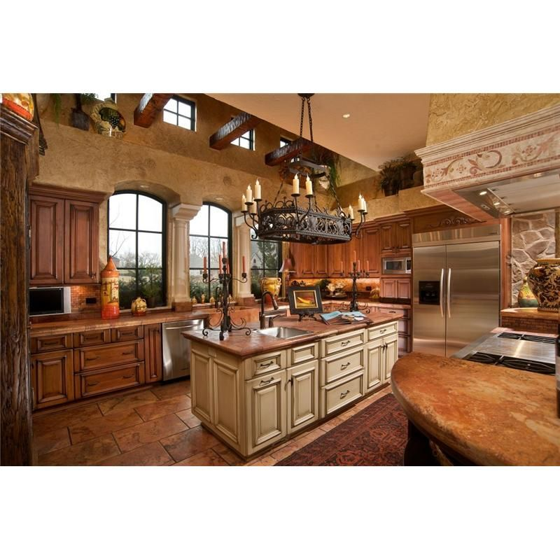 Superior Beautiful Kitchen..love The Thick Pillars Separating The Windows. Detailed  Cupboards.