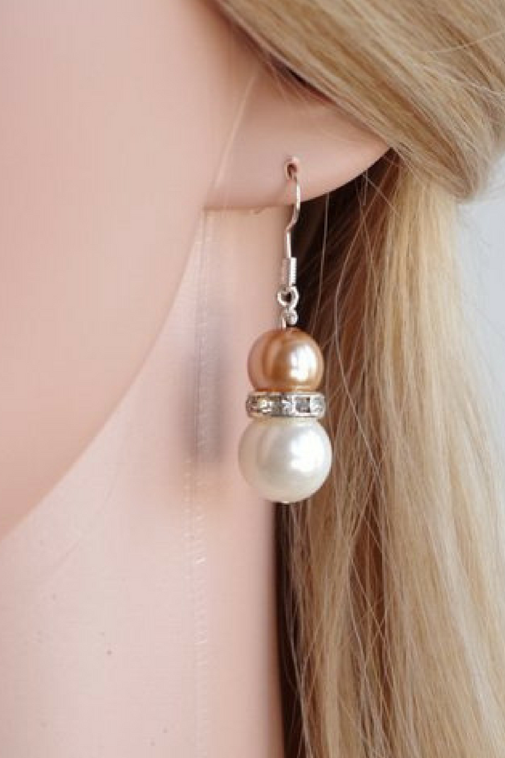 Champagne pearl drop earrings Bridesmaid Jewelry Crystal dangle ...