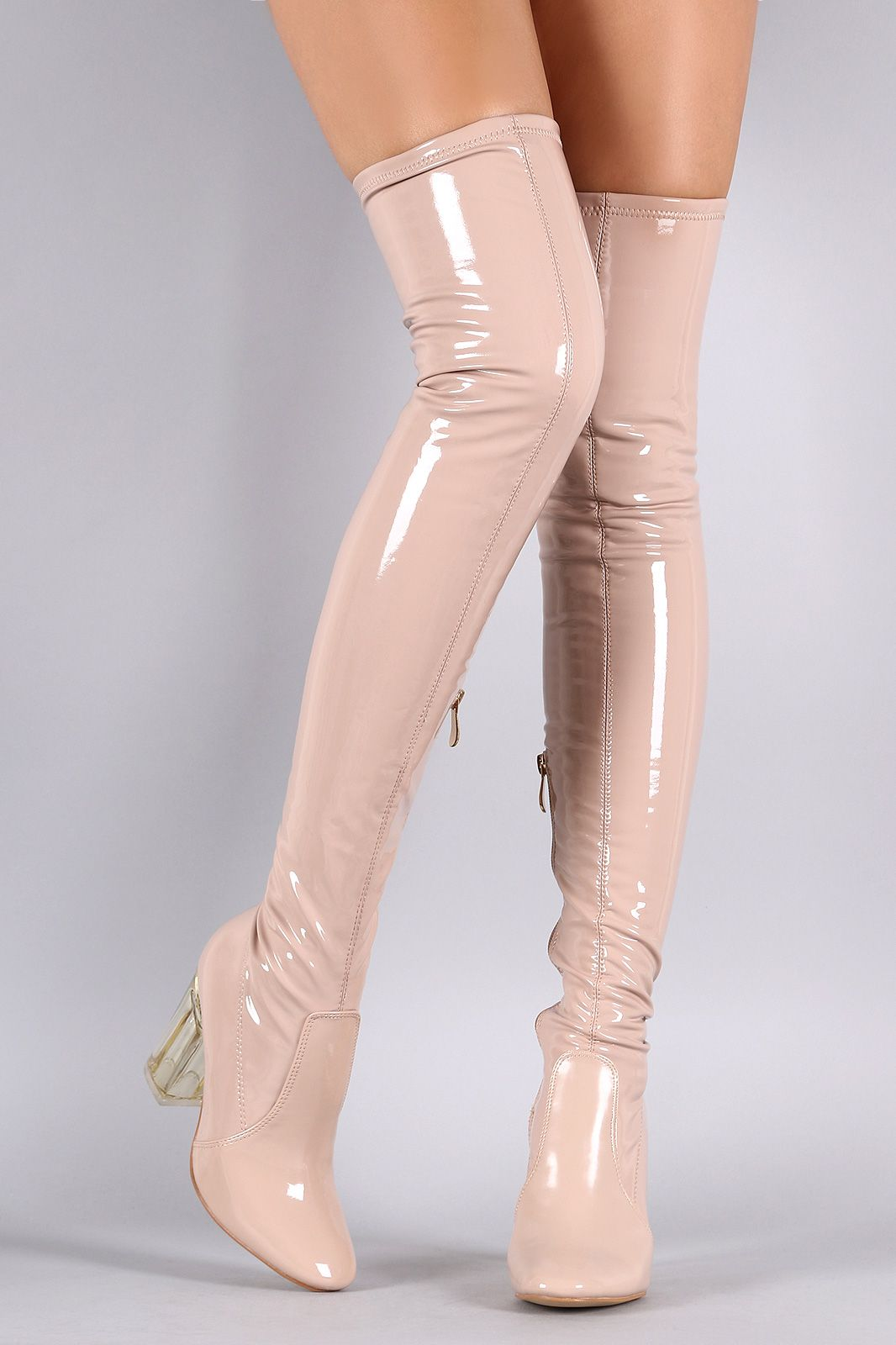 26657cc21b87 Patent Leather Chunky Lucite Heeled Over-The-Knee Boots
