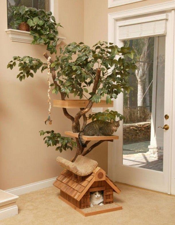 How I Want To Spoil My Rotten Cats Cat Tree House Diy Cat Tree Cat Tree Designs