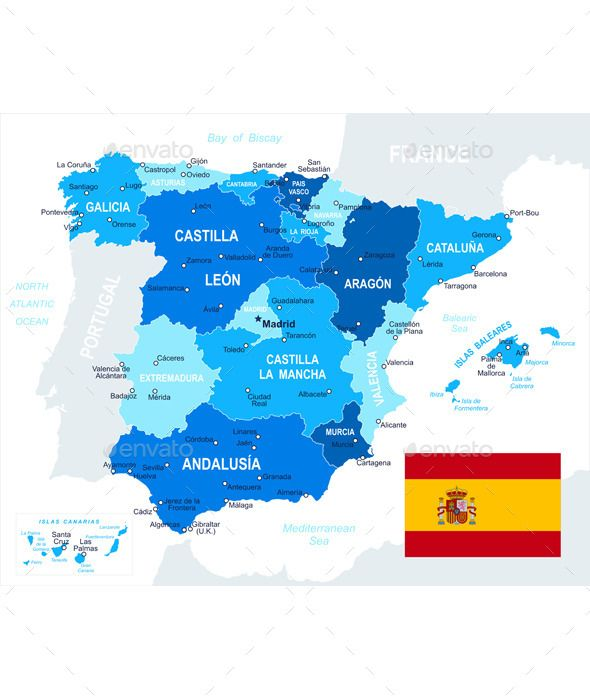 Spain Map and Flag Travel Vectors Pinterest
