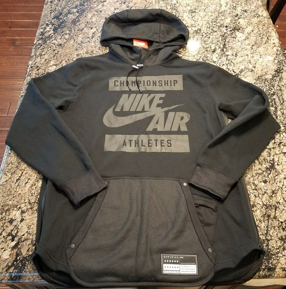 NIKE AIR CHAMPIONSHIP ATHLETES HOODIE SIZE M Medium 802638 010 BLACK  Nike   Hoodie 02d0b0b7d