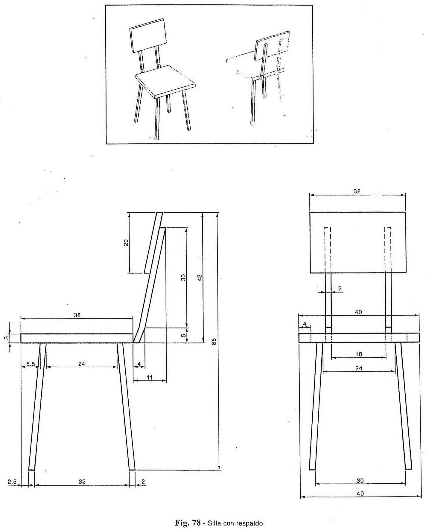 Acotacion silla eso vistas de piezas pinterest for Muebles bambu pdf