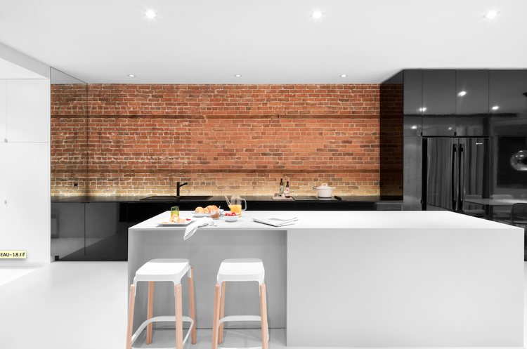 Minimal Modern Kitchen With Glossy Black Cabinets