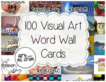 Elementary Art Word Wall Cards (216 vocabulary words with images ...