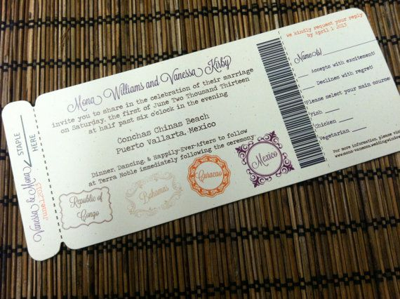 Passport Stamps Theme Boarding Pass Invitation by Alisa Marie Designs