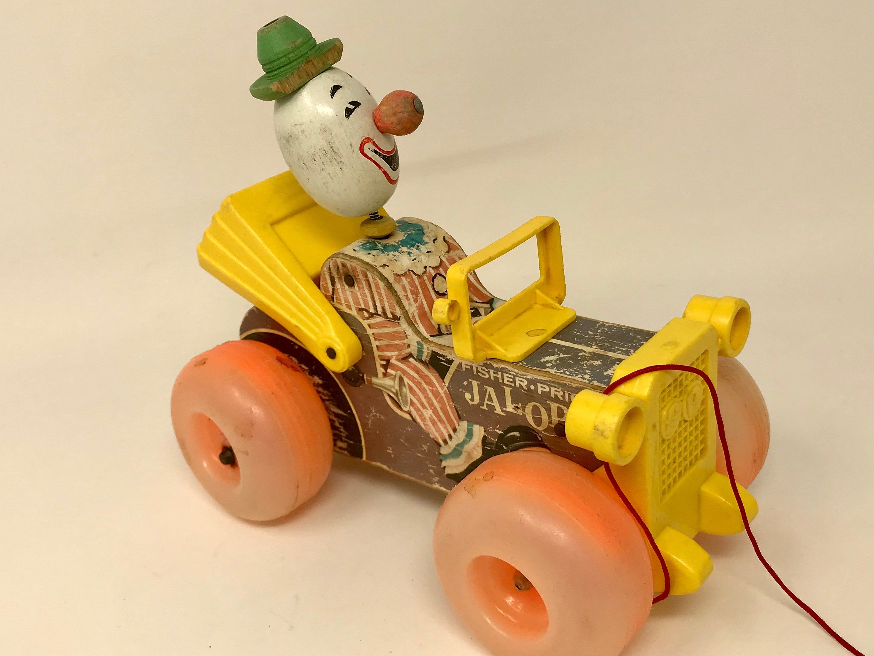 Vintage Fisher Price Jalopy Pull Toy Clown Etsy Vintage Fisher Price Fisher Price Toys Pull Toy