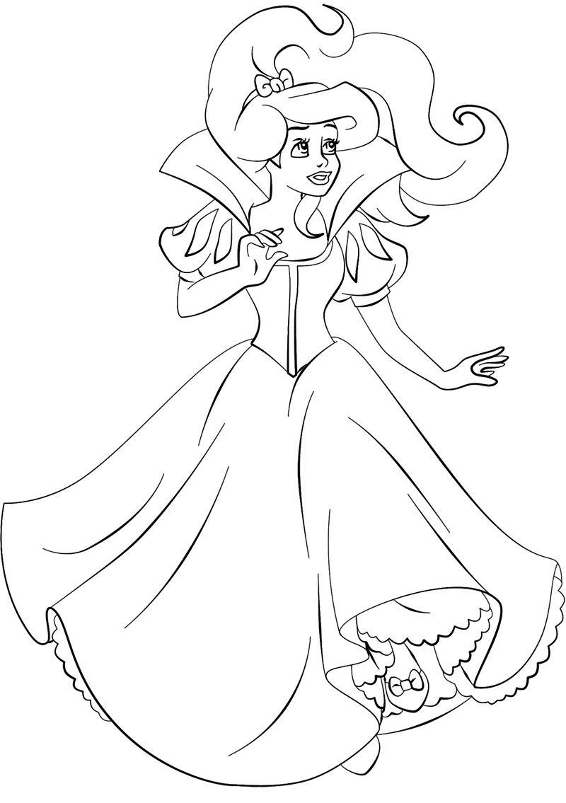 Beautiful Princess Ariel Coloring Page | PLANTILLES VARIADES ...