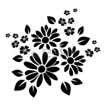 Fleurs Dessin Tatouage Silhouette Noire De Fleurs Vector
