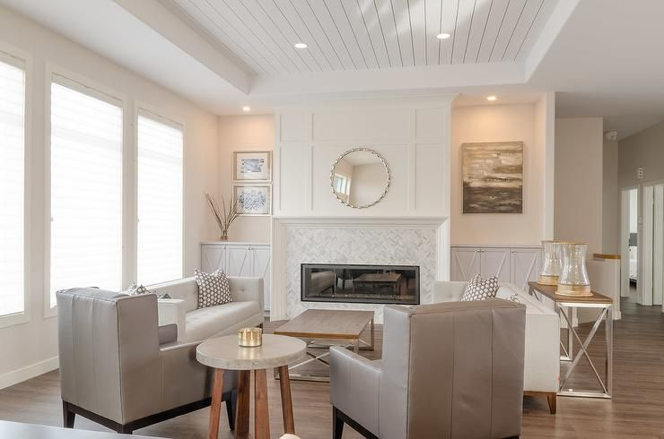 Under A White Shiplap Tray Ceiling An Exquisite White And