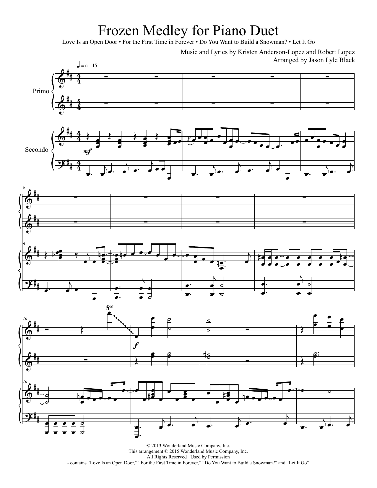 Frozen Piano Medley Arr Jason Lyle Black Sheet Music Kristen Anderson Lopez Robert Lopez Piano Duet Sheet Music Digital Sheet Music Christmas Sheet Music