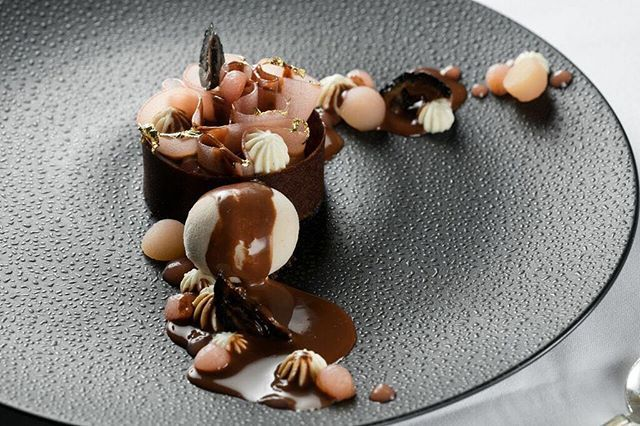 """Crazy about our Cercle V Pastry Chef Ashley Brauze's """"Poire Belle Helene"""" made of Maple Diplomat, Chocolate Financier, Black walnut & Valrhona MANJARI 64%!"""