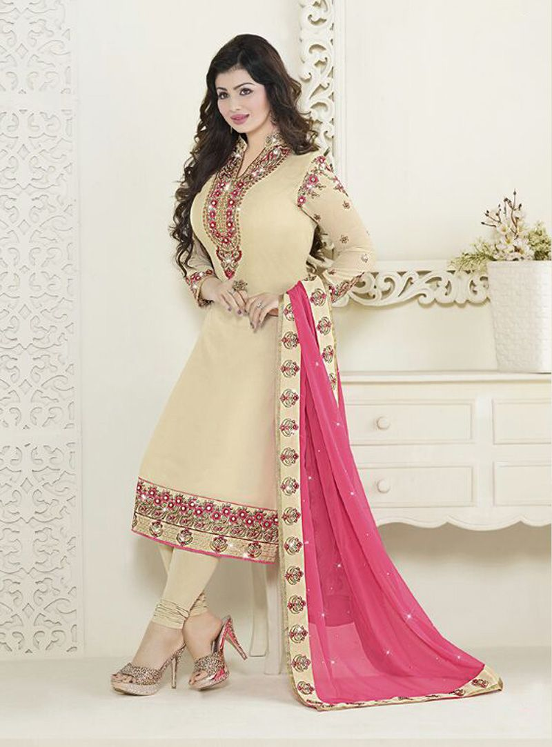 9343d192f1 Ayesha Takia Off White Faux Georgette Kameez With Churidar 83138 ...