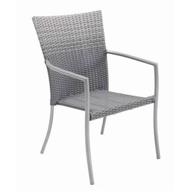 Allen Roth Palm West Gray Woven Seat Steel Stackable Patio Dining Chair At Lowes