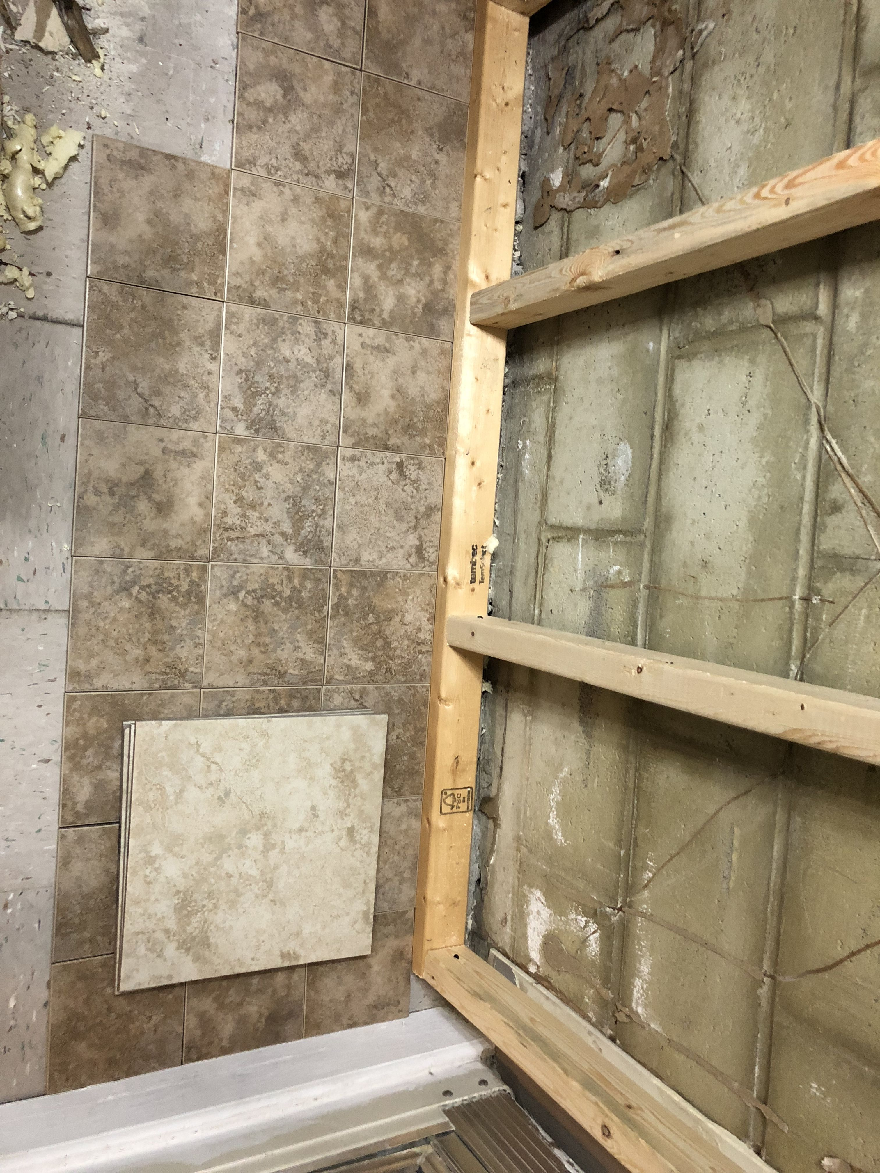 New bathroom tiles we found for cheap on clearance at Lowe