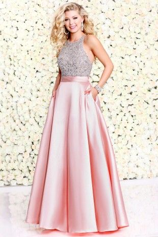 Pink Posh Party Dress With Halter Bodice 40342