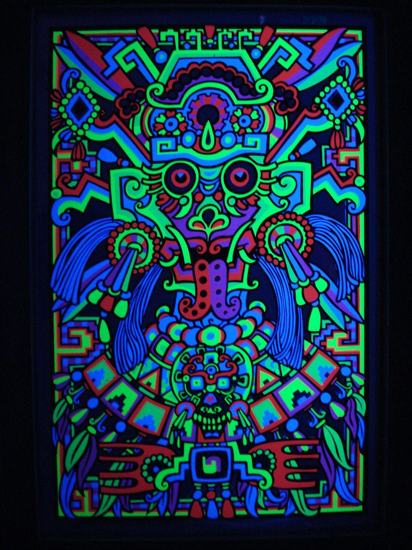 Third Eye Foil Mylar AZTEC MASK Blacklight Poster Vintage 1969 Psychedelic Mayan Art Screen Print
