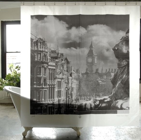 Vintage Style For The Bath Cityscape Shower Curtains Vinyl Shower Curtains Trafalgar Square Curtains