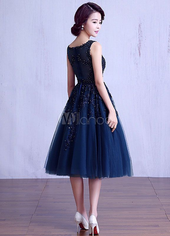 Tea Length Tulle Prom Dress