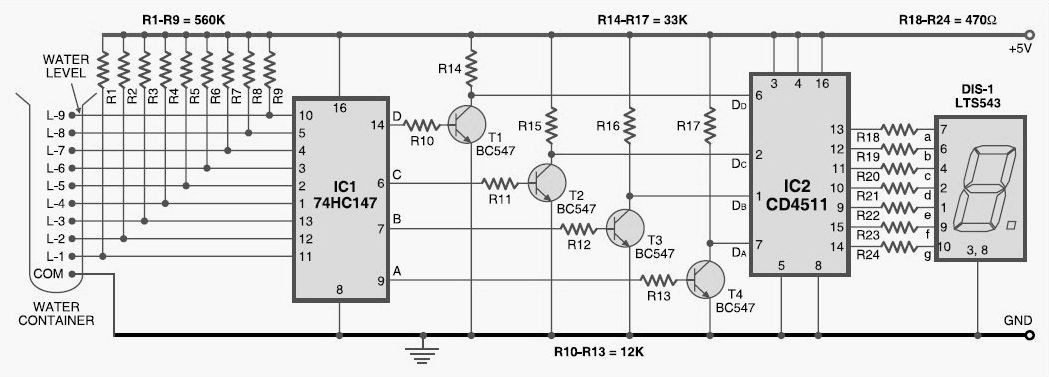 numeric water level indicator circuit diagram