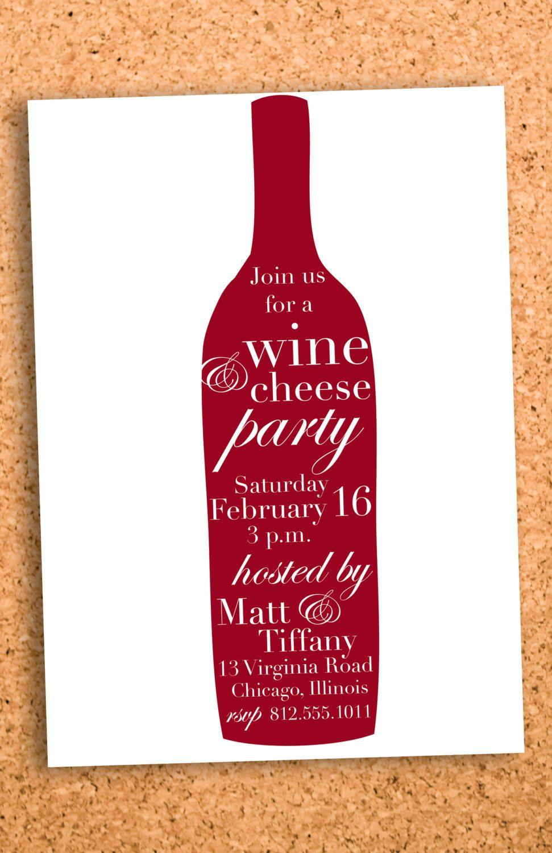 modern wine and cheese party invitation custom printable-- digital ...