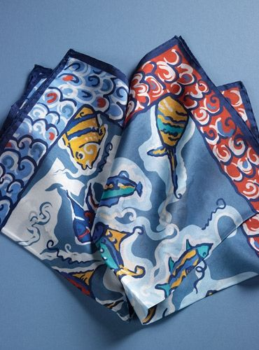 Silk Pocket Square with Fanciful Fish