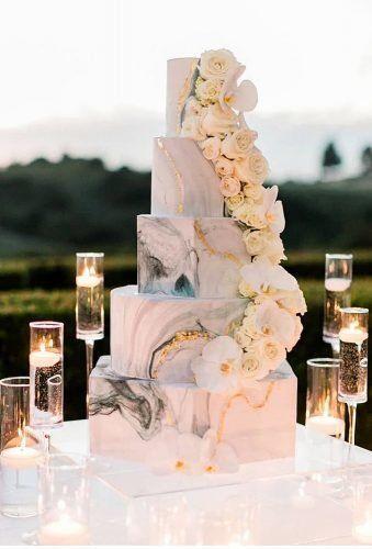 Marmor Hochzeitstorte mit Blumen – Boda fotos