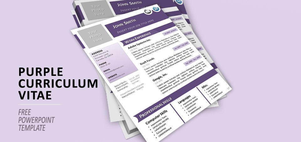 purple curriculum vitae template for powerpoint resume cv