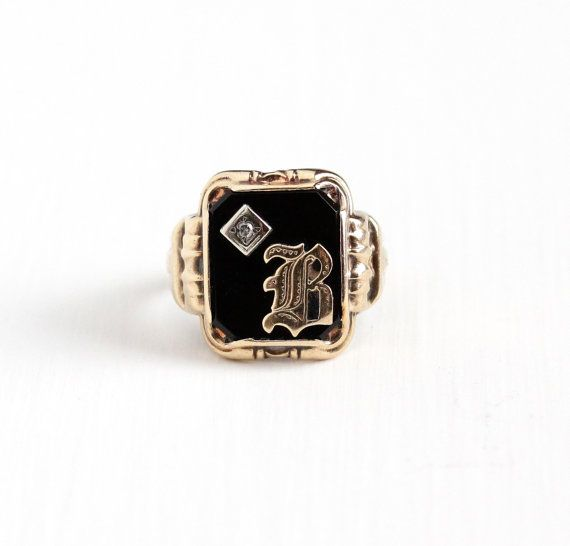 Vintage 10k Rosy Yellow Gold Diamond Initial B Signet Ring Art Deco 1930s Size 9 Black Fine Antique Jewelry Antique Mens Jewelry Fashion Accessories Jewelry