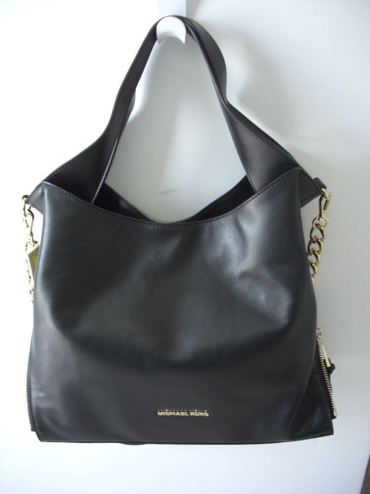 Michael Kors Devon Large Black Gold Leather Shoulder Bag Tote Nwt 398 Umhangetasche Leder Schultertasche Gold Leder