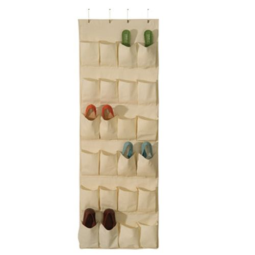 24 Pocket Hanging Canvas Over The Door Shoe Organizer Can Be Used