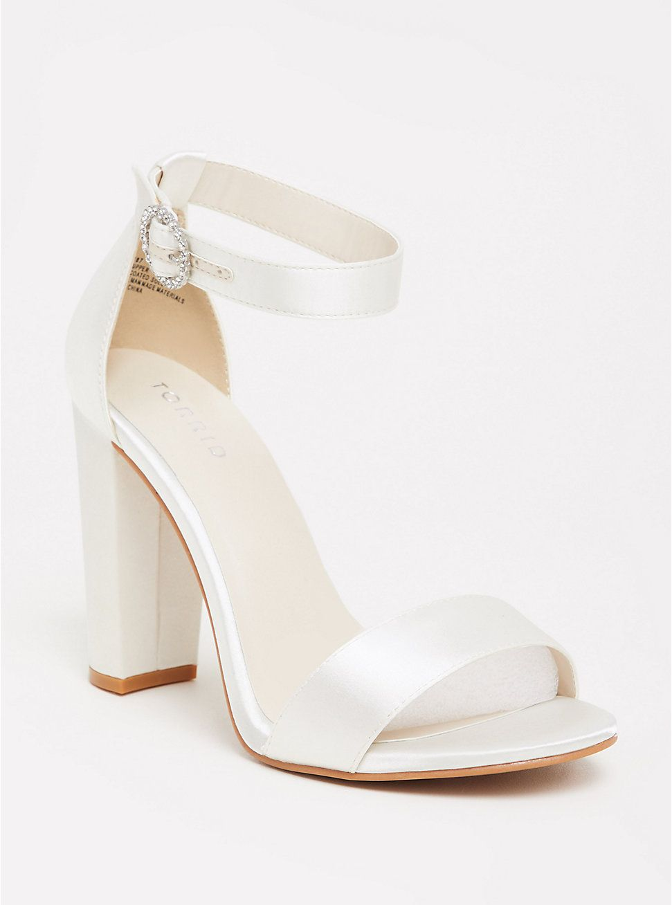 Staci - Ivory Satin Ankle Strap Tapered Heel (WW)
