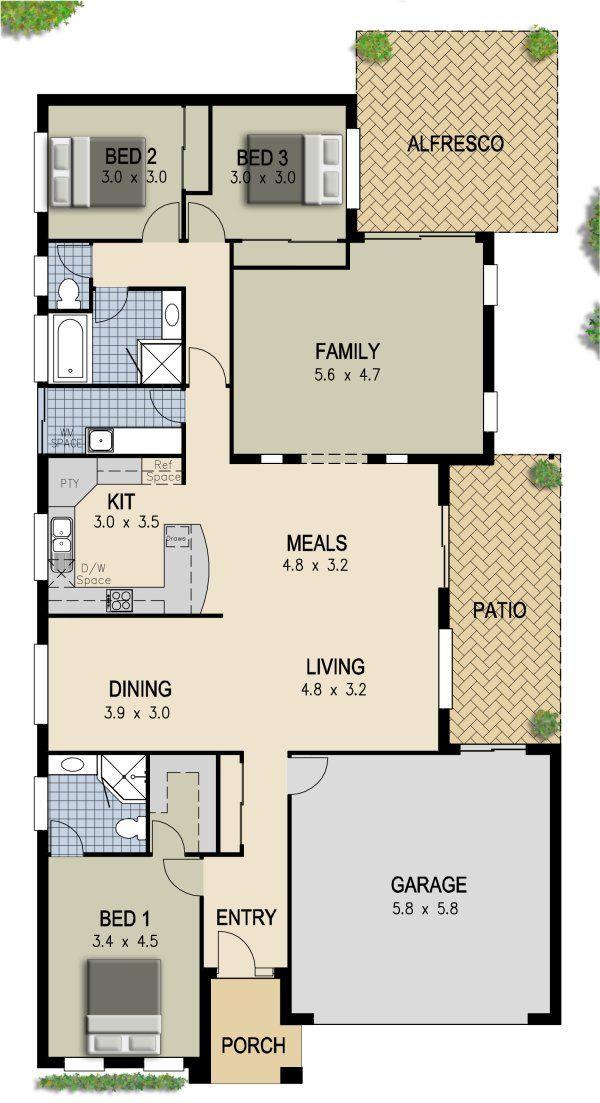 3 Bed Floor Plan 2 Bathrooms 2 Living Areas Alfresco Pool House Plans Family House Plans House Plans Australia
