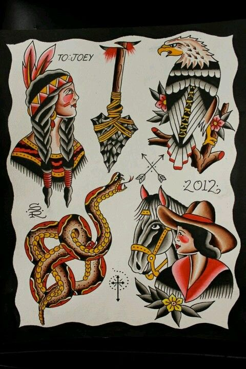 c6277b8d3101b Traditional Wild West Tattoo Flash by Steve Rieck Las Vegas | Art by ...
