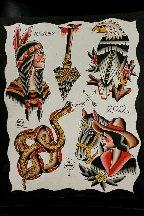 traditional wild west tattoo flash by steve rieck las vegas art by steve rieck pinterest. Black Bedroom Furniture Sets. Home Design Ideas