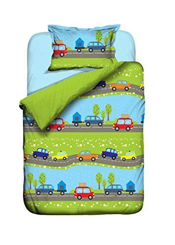 Bettwäsche Auto Kinderbettwäsche 100x135 Baumwolle Jungen Autos