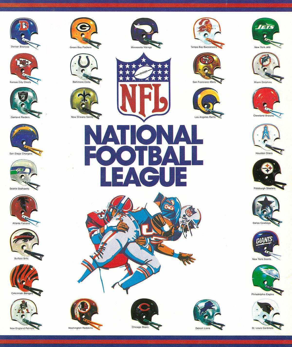 Throwback Vintage Nfl Helmets Mini Poster Print Very Cool Ebay Nfl Football Logos Nfl Football Helmets Nfl Football Art