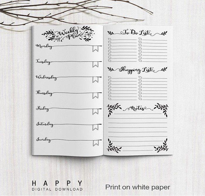 Midori TravelerS Notebook Weekly Planner Inserts  Printable