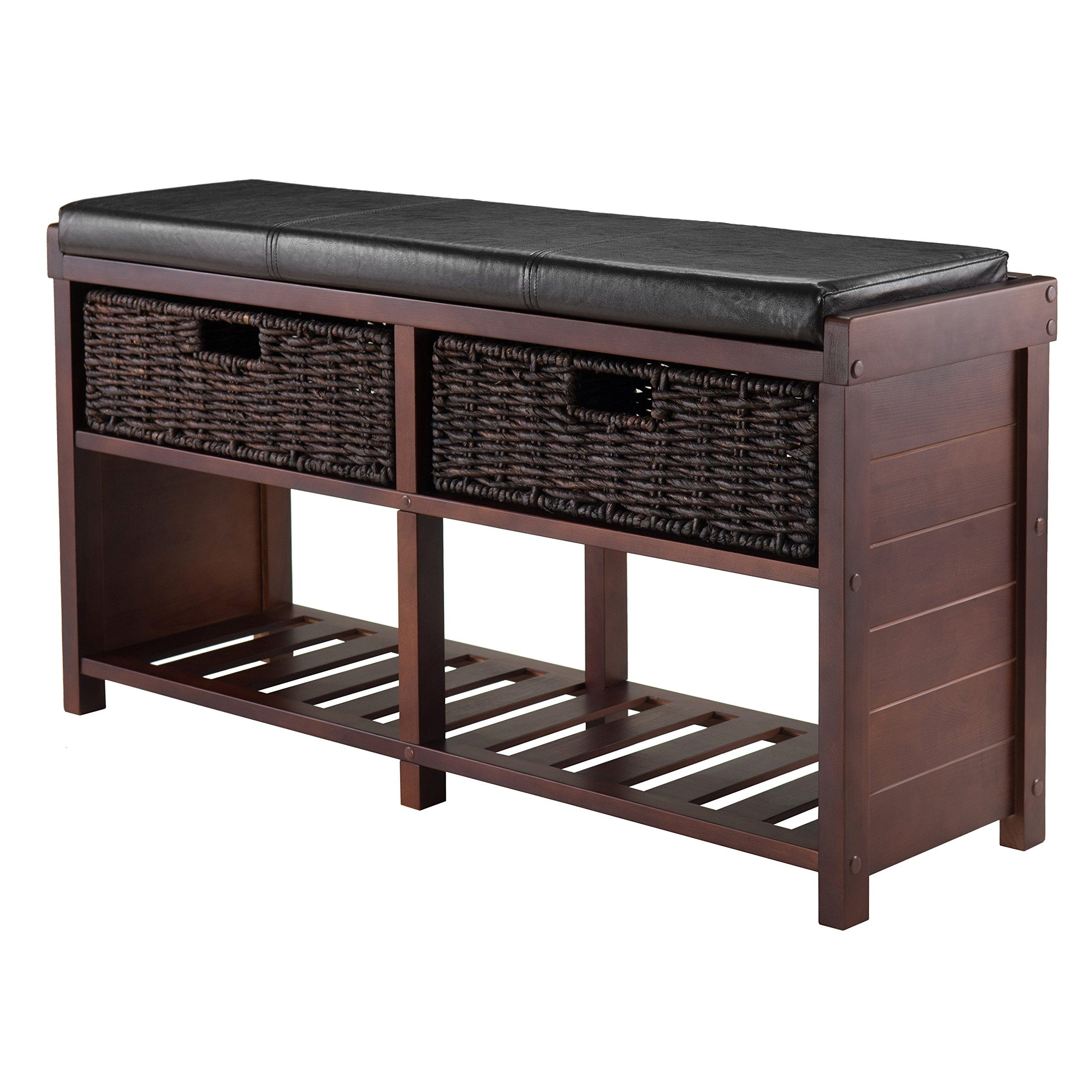 Amazon.com - Winsome Wood Colin Cushion Bench with Baskets 38.2 x ...