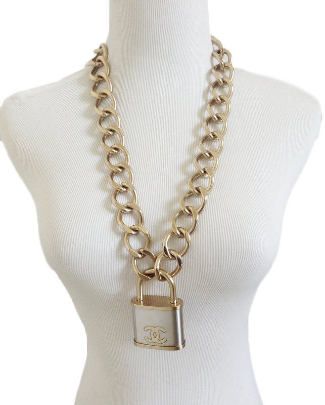 9e3214b08cda05 CHANEL CC Over-sized Padlock Necklace in Gold and Silver. | Bling ...