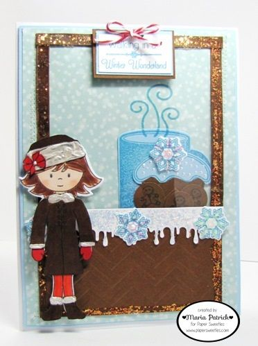 Created by Maria Patrick for Paper Sweeties Jan.2016 Inspiration Challenge.  Stamps used are Abigail, Let It Snow(outfit), Thanks Berry Much(bow on hat), Homemade With Love(cupcake, snowflake), and Have a Holly Jolly Holiday-(gingerbreads).  Dies used are Sweet Cuts-Abigail, Sweet Cuts-Homemade With Love.  Twine-Strawberry and Sequins-Snowflakes from www.papersweeties.com.