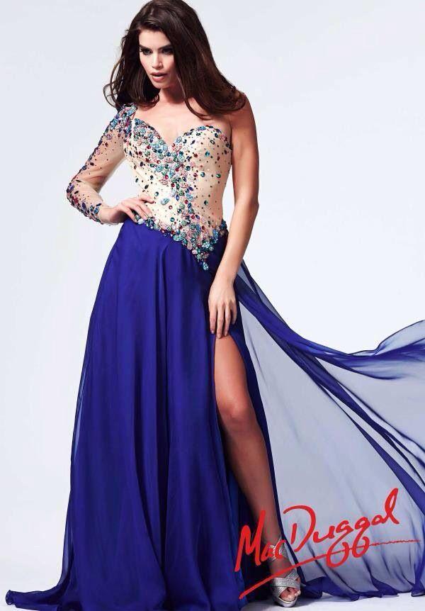 Azul de una sola manga | Enamorada de los vestidos | Pinterest ...
