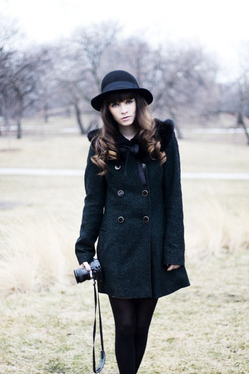 In this look: Green coat from Topshop, boots from Topshop, hat from H&M, dress from LOVE, vintage bow tie, and vintage belt.