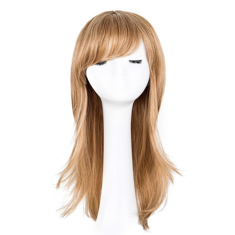 Synthetic None-lacewigs Hair Extensions & Wigs Fei-show Synthetic Heat Resistant Medium Yellow Blonde Wavy Wig Inclined Bangs Hair Costume Cosplay Carnival Halloween Hairpiece